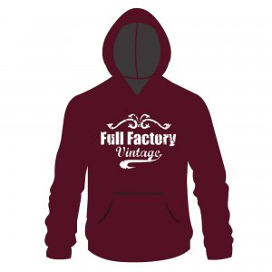 Full Factory Vintage Hoodie Burgundy & White
