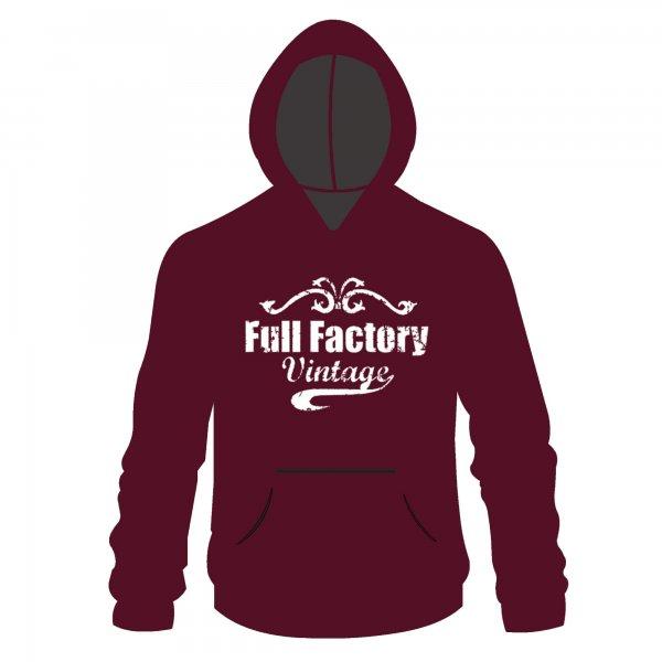 Full Factory Vintage Hoodie Burgundy & White